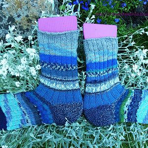 Restesocken in Blau